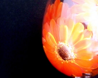 Live Love Laugh Gerber Daisies Wine Glass Large Handpainted  Dishwasher Safe