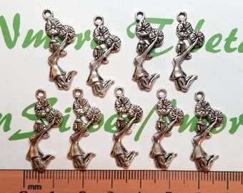 16 pcs per pack 28x10mm Cheerleader Charm Antique Silver or Gold Finish Lead Free Pewter