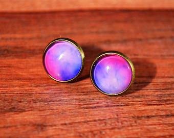 Galaxy Studs, Galaxy Earrings, Galaxy Jewelry, Space Studs, Space Earrings, Space Jewelry, Nebula Studs, Nebula Earrings, Nebula Jewelry