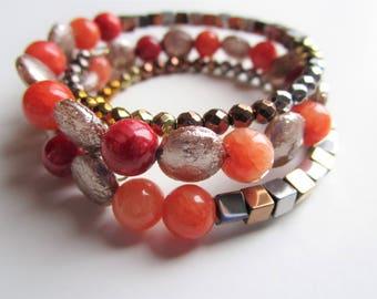 Grapefruity wrap stack gold orange copper bracelet