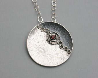Large Silver Moon Pendant Art Jewelry Necklace Fire Citrine Accent One of a Kind Adjustable