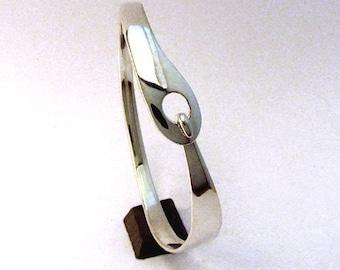 Sterling Silver Bracelet, Latching Cuff