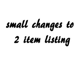color and/or size changes for 2 item listing up to 30by30 inches