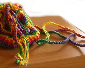 Multicolored crocheted cotton gift bag