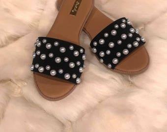 Pearl embellished slide sandals