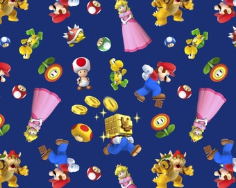 "Nintendo Fabric: Nintendo Super Mario 2 Characters Toss 100% cotton fabric by the yard 36""x43"" (SC391)"