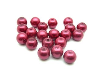 Glass beads Pearl copper red 8mm x 20
