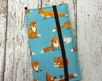 Blue fox print iPhone wallet case with removable gel case