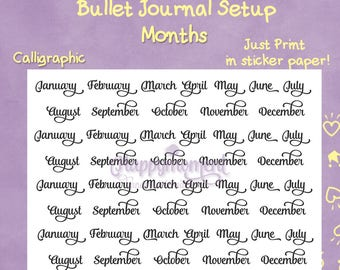 Bullet Journal Month Titles | Printable PDF in Letter Size | Titles of Months for your monthly bujo setup | Bujo stickers, Planner Stickers