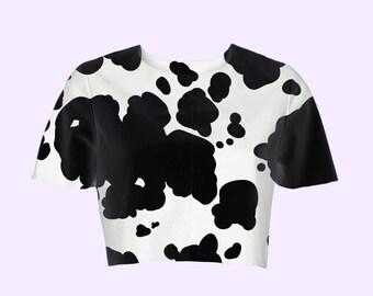 cow print crop top | plus size kawaii 90s pastel fairy kei pop kei harajuku neogal grunge animal print sweet kitschy cute