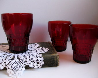 Vintage Royal Ruby glasses Ruby red tumblers Cranberry red glasses
