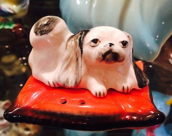 Napco Pekinese Dog on a Red Pillow Salt and Pepper Shakers made in Japan circa 1950s