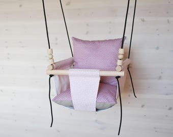 Baby Swing/Toddler Swing/Pink Swing/ Nursery Swing/ Indoor Swing/Outdoor Swing/ Cotton Linen Fabric Swing/  Hammock Swing