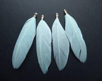 Feather light blue, 8, 5 cm, set of 4 Pcs