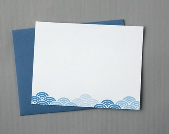Blue Waves A2 Flat Note Cards (Set of 10)
