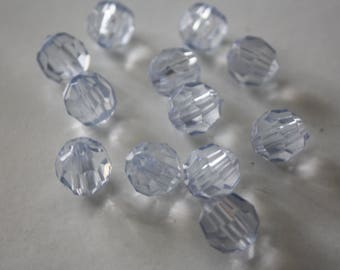 12 Perles transparentes en plastique 10 mm