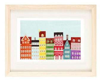 COPENHAGEN, DENMARK - 4 x 6 or 5 x 7 Colorful Illustration Art Print, Yellow, Green, Red, Wall Decor
