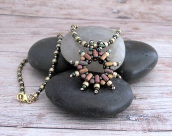 Beaded Boho Star Necklace - Gifts for Her - Girlfriend Gifts Under 30 - Bohemian Jewelry Gifts for Her - Everyday Necklace - Vintage Look