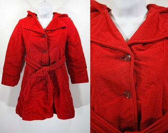 """Vintage 60's Red Hooded Girl's Winter Coat 31"""" Bust"""