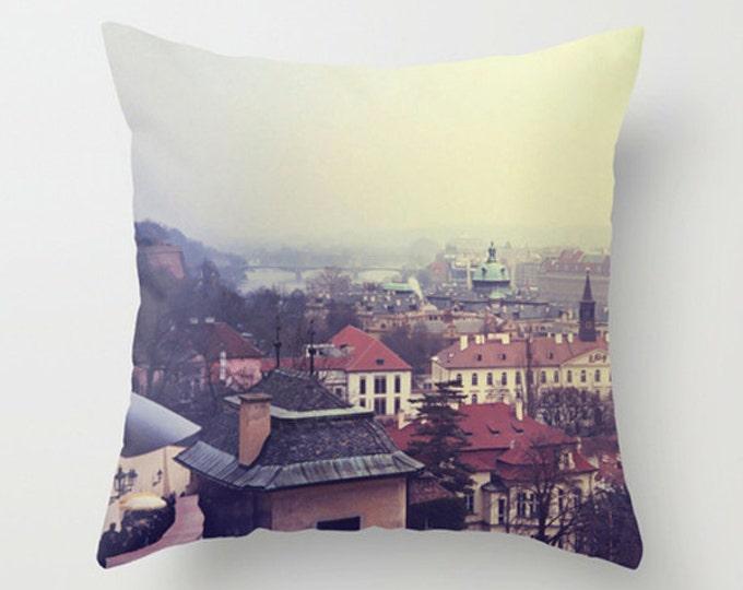 Prague Sofa Pillow, Travel Wanderlust Pillow, Winter Accent Pillow, Cityscape Throw Pillow Cover, 18x18 24x24 Decorative Pillow Cushion