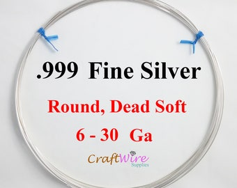 999 Fine Silver Wire, Round, Dead Soft, 6 8 10 12 14 16 18 20 22 24 26 28 30 Gauge, Jewelry Making Wire, Wrapping DIY Craft