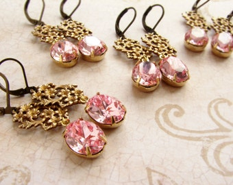 Bridesmaid jewelry, Bridesmaid gift, Vintage rhinestone earrings, Rose pink rhinestone earrings Rosaline bridesmaid earrings