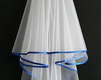 White Wedding Veil, Two Layers, Royal Blue Colour Satin Edging.