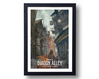 Harry Potter Poster Diagon Alley Travel Poster, Harry Potter Art, Harry Potter Diagon Alley, Harry Potter Wall Art, Harry Potter Hogwarts