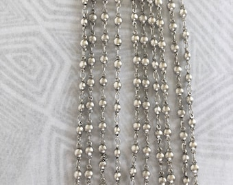 Vintage Silver Bead Chain, Silver Bead Chain, Silver Rosary Chain, 3mm, 3Ft