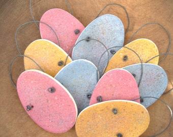 Easter Eggs Set of 9 Primitive Hanging Salt Dough Egg Ornaments