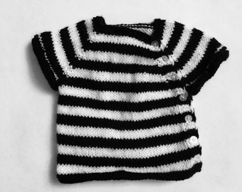 Baby Breton/Marinière short-sleeve hand knit pullover