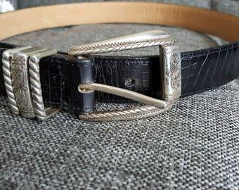Vintage Brighton Black Leather Belt Sz L 34