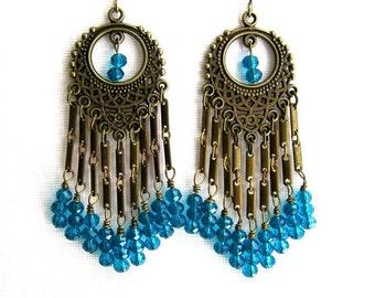Long Teal Chandelier Earrings Brass and Teal Crystal Chandelier Earrings