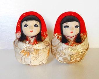 Antique Japanes Daruma Kimono Sisters