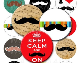 50% Off Sale - Mustaches - Digital Collage Sheet  - 2.25 inch Round Circles - INSTANT DOWNLOAD