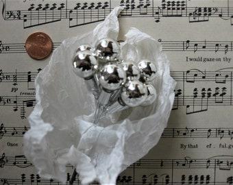Gorgeous Vintage Silver Mercury Glass Bulbs on Wire, 12 Bulbs