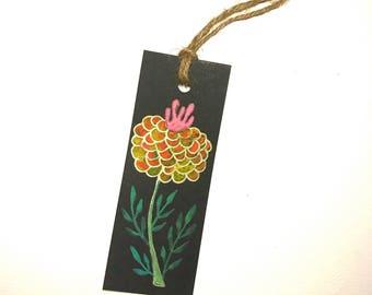 Handpainted Bookmark of Many-Petaled Yellow Orange Flower