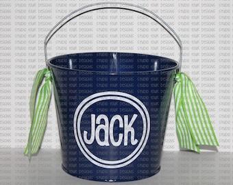 5 QT Personalized Easter Basket/Bucket/Pail - Metal Easter Bucket - Custom Easter Bunny Bucket/Basket - Easter Pail- Assorted Colors/Designs