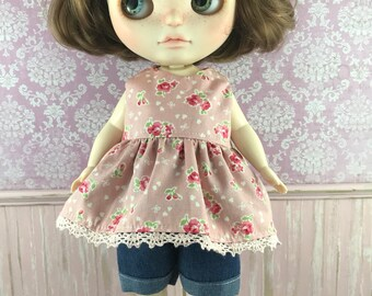 Plus size Chubby Blythe Babydoll Top and Shorts set - Apricot Floral
