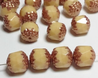 6pcs Czech Glass Beads - Beige Gold Cathedral Beads 10mm - GB221