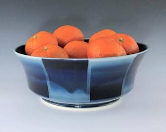 Ceramic Serving Bowl, Large Blue Bowl, Ceramic Fruit Bowl, Porcelain Bowl, Blue Salad Bowl, Wheel Thrown Pottery Bowl, Pasta Bowl, Chip Bowl