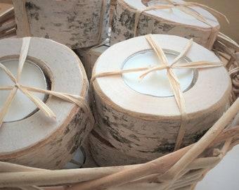 Porte-bougie chauffe-plat de bouleau (20 CT.) - avec à la main bois brûlé Tag - photophore porte - photophore Centre de table - mariage faveur - rustique