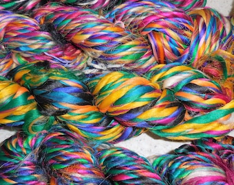 40 to 50 Yards,   Thrum Silk Yarn,  Fair Trade from Nepal