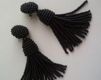Black beaded tassel Earrings, 2,5 inch, statement tassel earrings, dangle earrings, Designer earrings, sterling silver