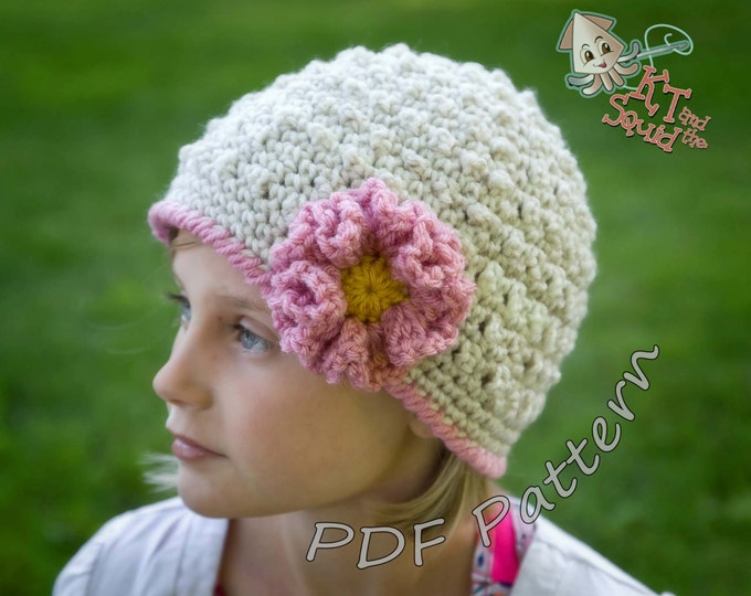 Girls crochet hat pattern, crochet hat pattern with flower, ruffle flower pattern, permission to sell, womens hat pattern, baby newbor