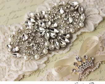 Ivory Lace Garter Set, Wedding Garter Set, Bridal Garter, Lace Bridal Garter Set, Crystal and Rhinestone Garters