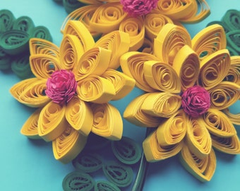 Yellow&Pink and green 3D floral design