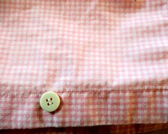 "DUVET King !00% Cotton Reversible Pink & White Gingham Check 92"" x 100"""