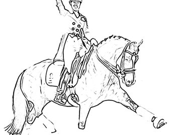 Valegro and Charlotte Dujardin, Horse Sketch, Digital Art