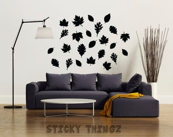 Leaves Wall Decals, Thanksgiving Wall Decal, Thanksgiving, Leaves, Home Decor, Fall, Autumn, Party, Give Thanks, Thankful, Living Room,